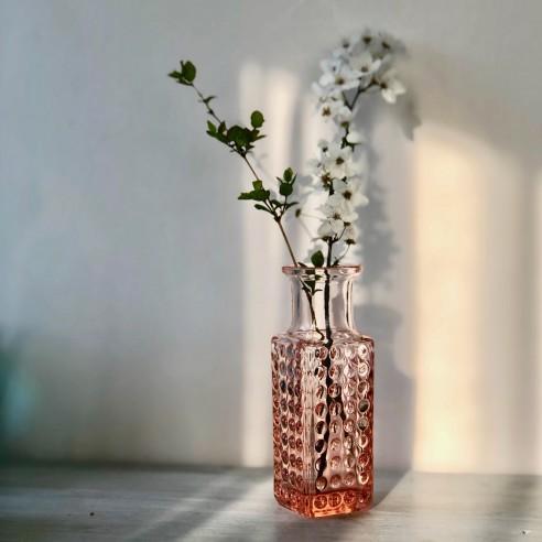 lisovaná váza z rosalinového skla