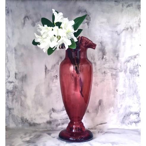 rubínová velká skleněná váza s kanýrkem-pouze osobní odběr