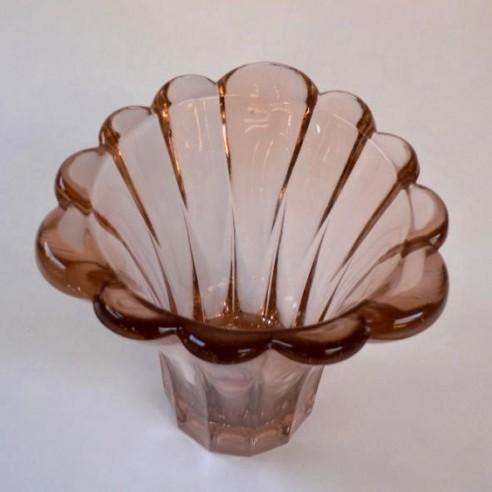 ručně lisovaná barevná sklěná váza