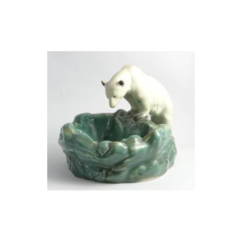 porcelánový popelník lední medvěd