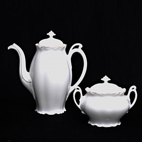 porcelánová konvice a cukřenka