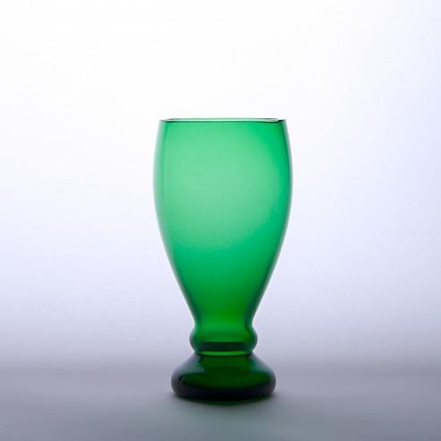 set dvou zelených skleněných sklenic
