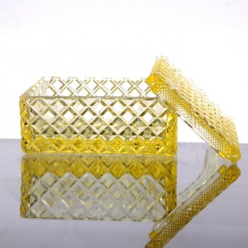 skleněná žlutá dóza