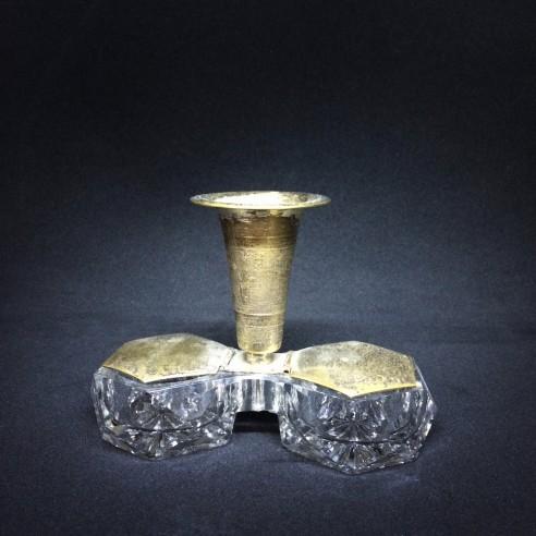 skleněná trojdílná nádobka